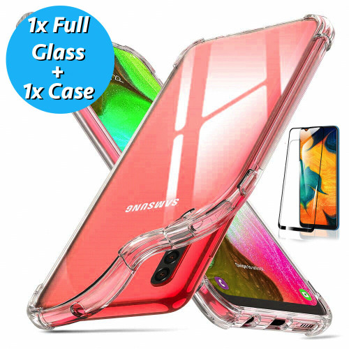 For Samsung A41 2020 Clear  Shockproof Silicone Gel Cover and tempered glass