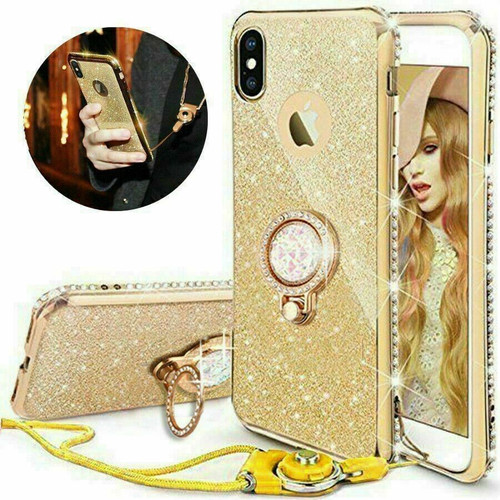 For Samsung galaxy A41 2020 gold Bling Diamond Ring Holder Soft Cover Case