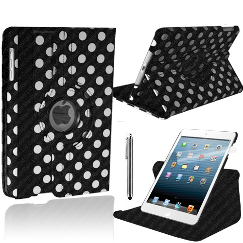Black With White Polka Dot PU Leather 360 Rotating Case for iPad 2/3/4