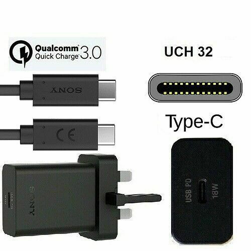 Sony USB-C To C Ultra Fast 3A 18W Rapid  Wall Charger Data Sync Cable