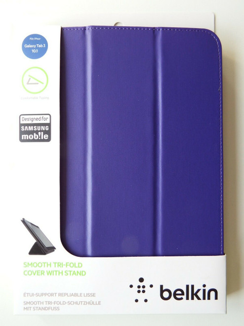 "Belkin Samsung Galaxy Tab 3 10.1"" Smooth Tri-Fold Cover Case P5210 P5220 Purple"