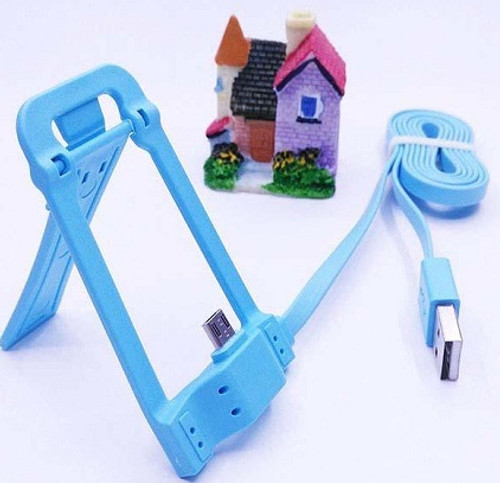 Blue Micro USB Data Sync Charging Cable & Holder for Android Phones