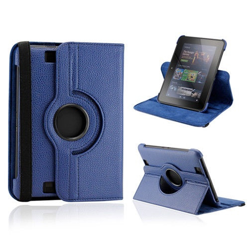 Blue PU Leather 360 Rotating Case for Kindle Fire HD 8.9(2012)