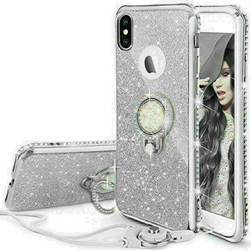 For Samsung galaxy a21s 2020 silver  Bling Diamond Ring Holder Soft Cover Case