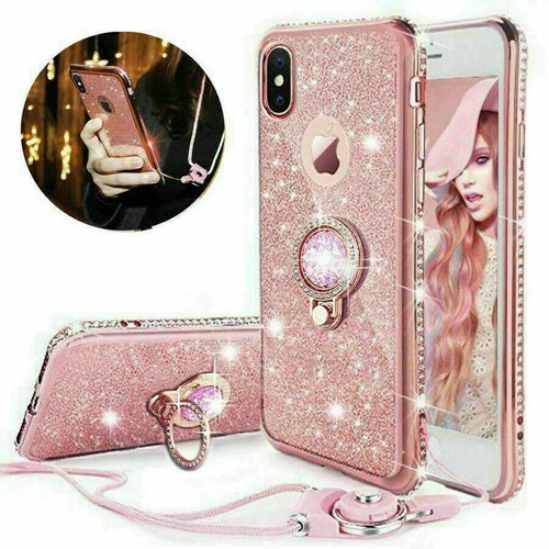 For Samsung galaxy A21s  2020 rose gold  Bling Diamond Ring Holder Soft Cover Case