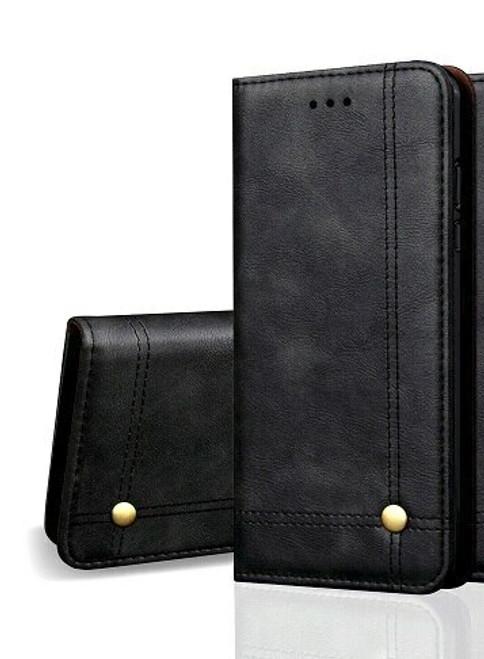 Vintage Real Leather  black Wallet Flip Case For iphone se 2020