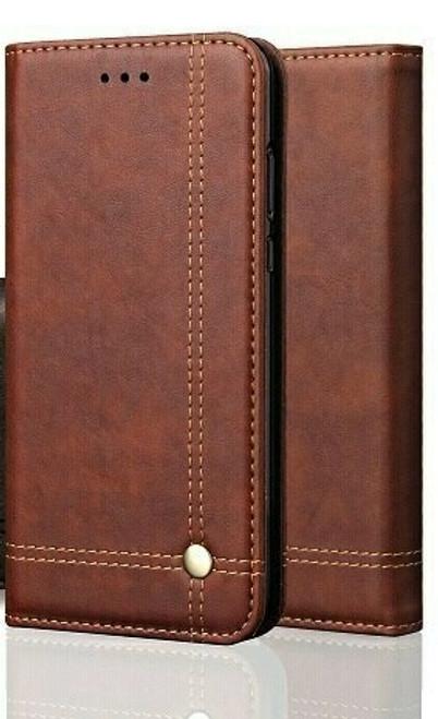 Vintage Real Leather  brown Wallet Flip Case For iPhone se 2020