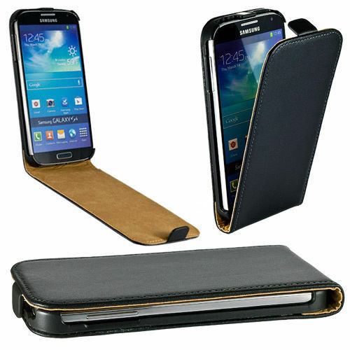 Black Real Leather Wallet Case For Various Samsung Galaxy s4