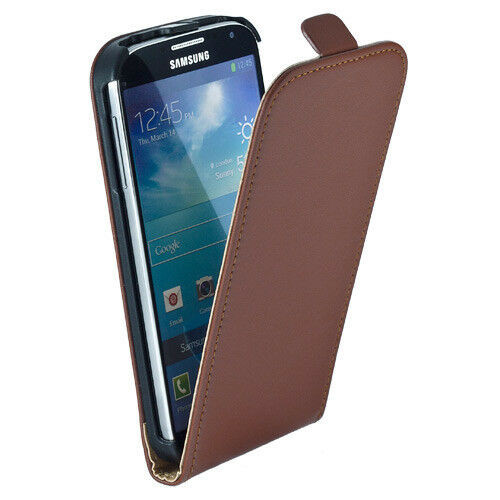 Brown  Real Leather Wallet Case For Various Samsung Galaxy s4