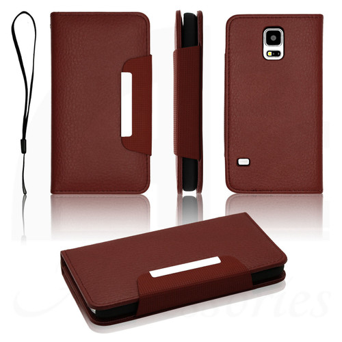 Brown Luxury Magnetic Leather Flip Wallet Stand Case Book Cover For Samsung Galaxy s4