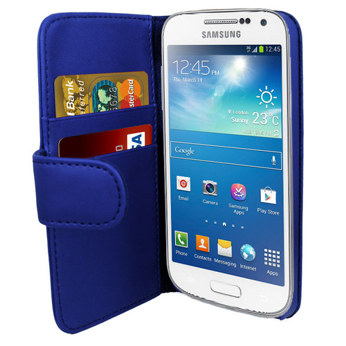 Blue PU Leather Wallet with Card Holder for Samsung Galaxy S4