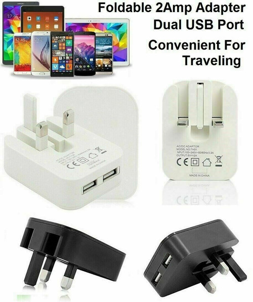 Fast USB Dual Ports Charger Adaptor For All Tablets Mobile Phones  black