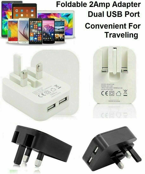 Fast USB Dual Ports Charger Adaptor For All Tablets Mobile Phones  white