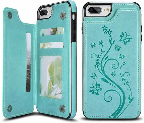 iPhone SE (2020)  Green Floral Leather Flip Wallet Card Holder Case