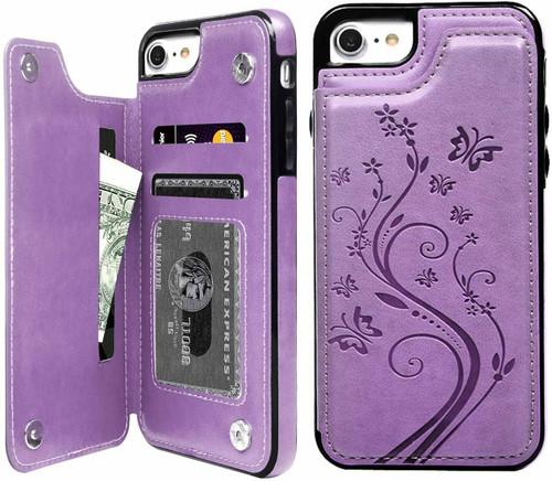 iPhone SE (2020)  purple Floral Leather Flip Wallet Card Holder Case