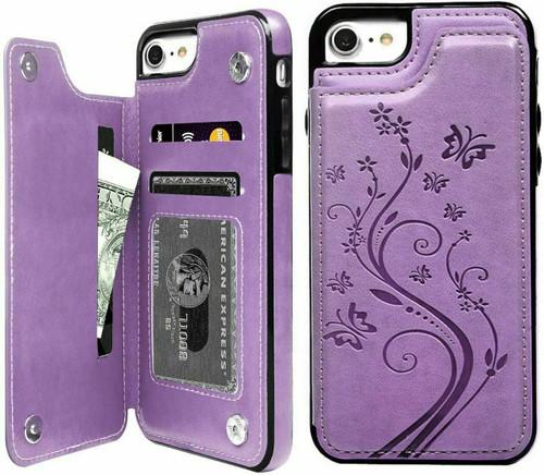 iPhone 12 pro purple Floral Leather Flip Wallet Card Holder Case