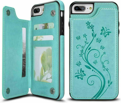 iPhone phone 12 pro max Green Floral Leather Flip Wallet Card Holder Case