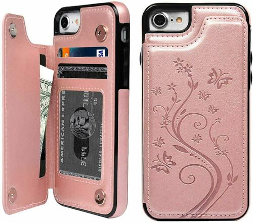 iPhone phone 12 pro rose gold Floral Leather Flip Wallet Card Holder Case