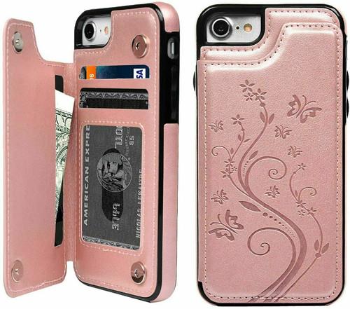 iPhone phone 12 rose gold Floral Leather Flip Wallet Card Holder Case
