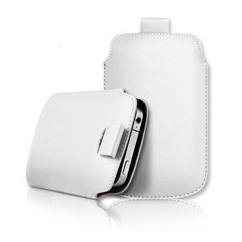 White Samsung galaxy j2 Core 2020 Leather Slide In Phone Case Pull Tab Flip Cover