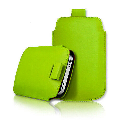 Green Samsung galaxy j2 Core 2020 Leather Slide In Phone Case Pull Tab Flip Cover