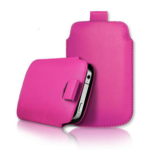Pink Samsung galaxy j2 Core 2020 Leather Slide In Phone Case Pull Tab Flip Cover