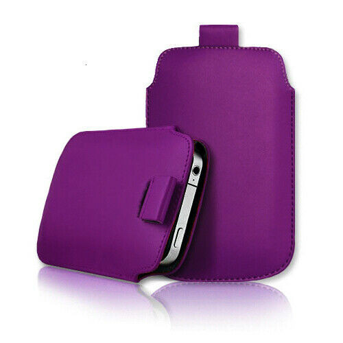 Purple Samsung galaxy j2 Core 2020 Leather Slide In Phone Case Pull Tab Flip Cover