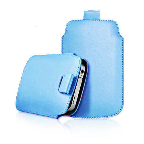 Sky blue Samsung galaxy j2 Core 2020 Leather Slide In Phone Case Pull Tab Flip Cover