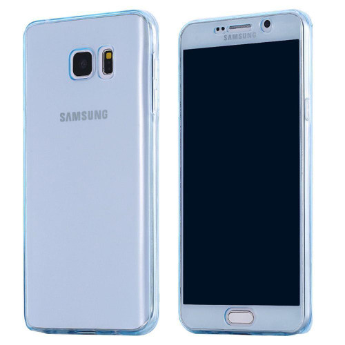 Blue Samsung S7 Edge Shockproof 360 Silicone Protective Soft Clear Case Cover