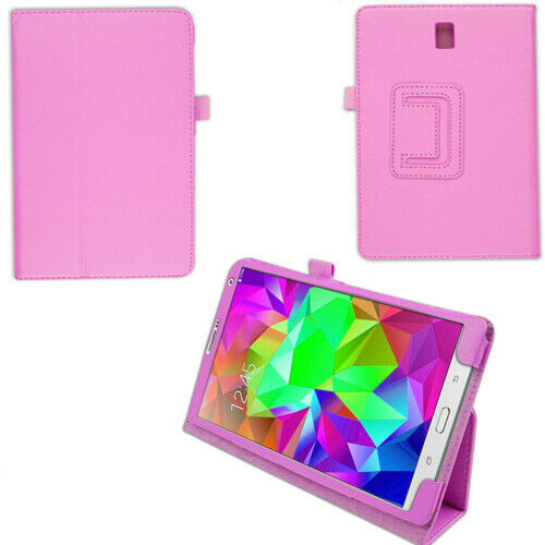 "PU Leather Flip Case For Samsung Galaxy Tab S 8.4"" SM-T700 SM-T705 Folio pink cover"