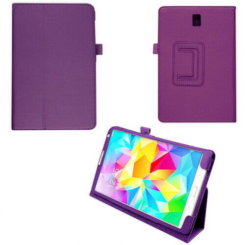 "PU Leather Flip Case For Samsung Galaxy Tab S 8.4"" SM-T700 SM-T705 Folio purple cover"