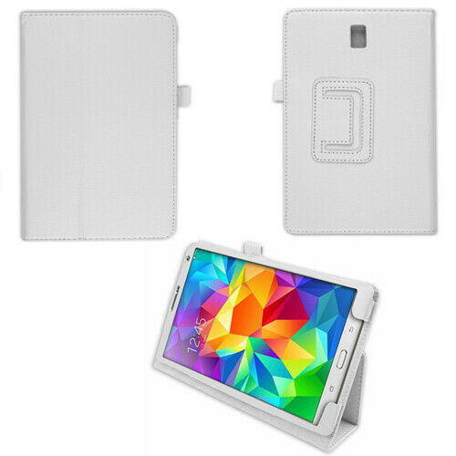 "PU Leather Flip Case For Samsung Galaxy Tab S 8.4"" SM-T700 SM-T705 Folio white cover"