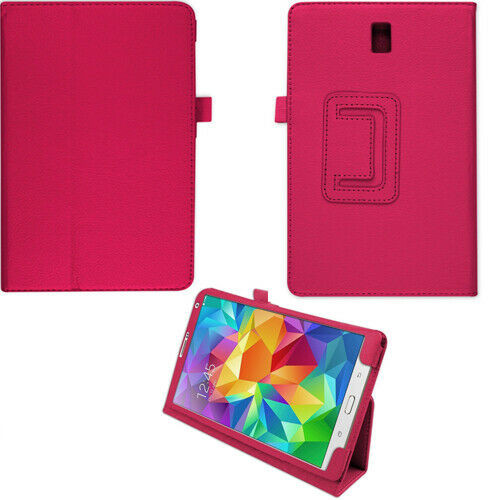 """Pu Leather Flip Case For Samsung Galaxy Tab S 8.4"""" SM-T700 SM-T705 Folio hot pink cover"""