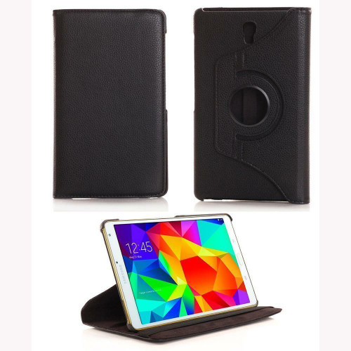 Black PU Leather 360° Rotate Stand Case For Samsung Galaxy Tab S 8.4in SM-T700 SM-T705