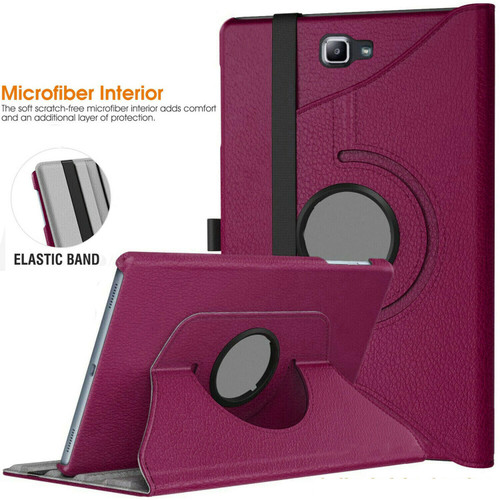 "Purple 360 Rotation Leather Case Stand Cover For Samsung Galaxy Tab E 9.6"" SM-T560 T565"