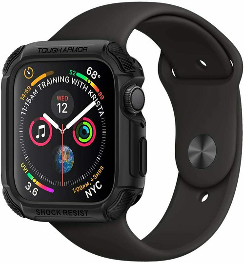 Apple Watch 6 SE 5 4 Case 44mm, Spigen Tough Armor Shockproof Cover - Black