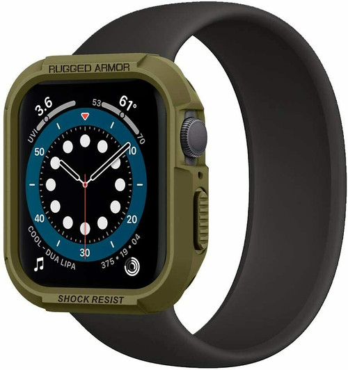 Apple Watch 6 SE 5 4 Case 44mm, Spigen Rugged Armor Protective Cover - Green