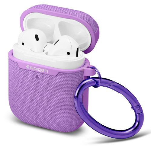 Purple  Spigen Urban FIt Case Designed for Apple Airpods 1 & 2 LED Light Visible