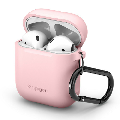 Pink  Apple Airpods 1/ 2 Case, Spigen Silicone Soft Slim Protective Cover