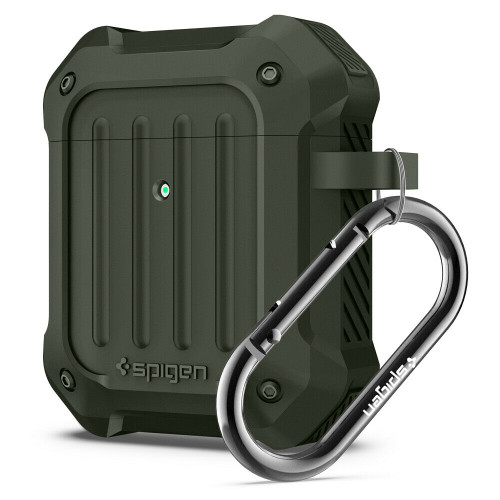 Military green Spigen Tough Armor Case Designed for Apple Airpods Case Cover for Airpods 1 & 2