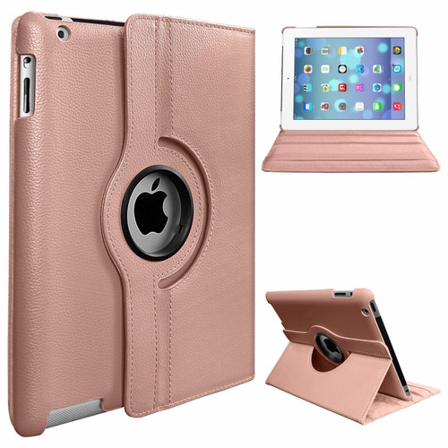 Rose Gold PU Leather 360 Rotating Case for iPad Air 2(2014)