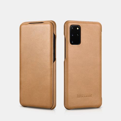 Samsung S20 Plus curved edge vintage leather case - Khaki