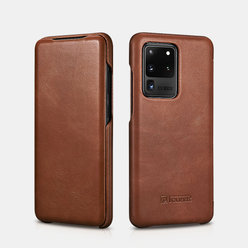 Samsung S20 Ultra curved edge vintage leather case - Brown