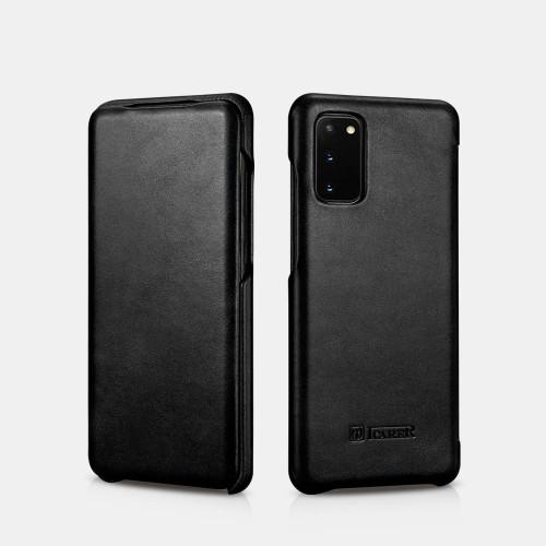 Samsung S20 curved edge vintage leather case - Black