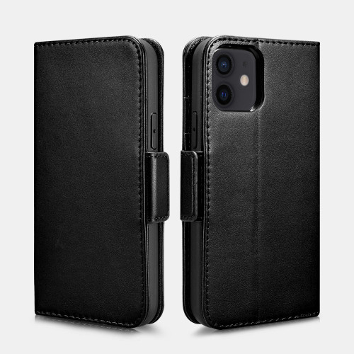 iPhone 12/12 Pro Real Leather Wallet Case - Black