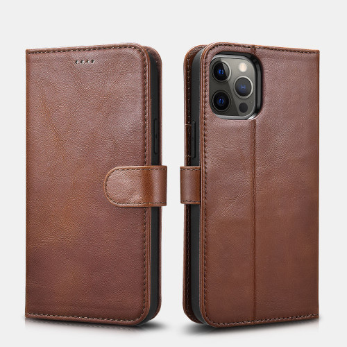 iPhone 12 Pro Max Crazy Horse Real Leather Wallet Phone Case - Brown