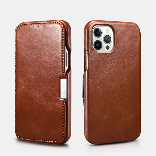 iPhone 12 Pro Max Vintage Leather Magnetic Style Folio Case - Brown