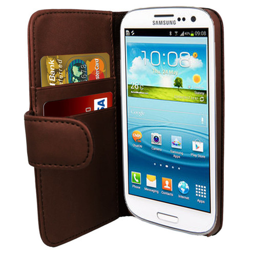 Brown PU Leather Wallet with Card Holder for Samsung Galaxy S3