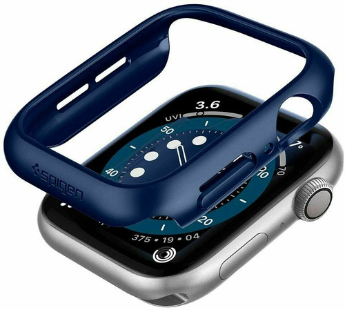 Apple Watch 6 SE 5 4 Case 44mm, Spigen Thin Fit Extremely Thin Cover - Blue