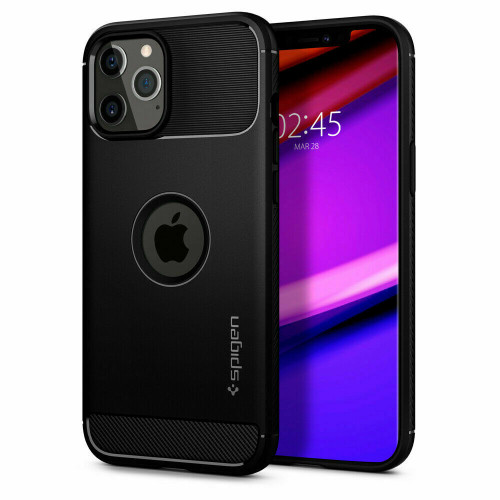 iPhone 12 Pro, 12 Case, Spigen Rugged Armor Shockproof Protective Cover - Black